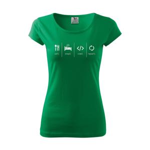 Dámske tričko IT Eat, sleep, code, repeat - pecka na tričko priamo do tvojho šatníka
