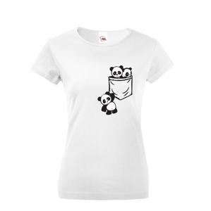 Dámske tričko Pandy vo vrecku - štýlový originál