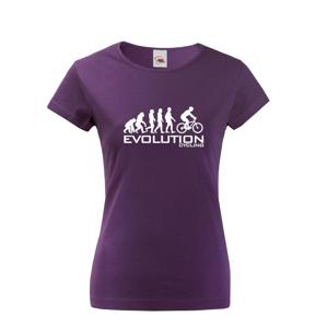 Dámské tričko s potiskem Evoluce cyklistiky. Nejoblíbenější motiv v kategorii.