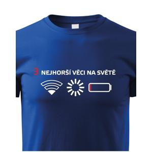 Detské tričko 3 najhoršie veci na svete - tričko pre všetkých mobilných závislákov