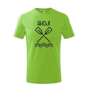 Detské vodácke tričko Ahoj! - s dotlačou mena, tímu alebo čísla