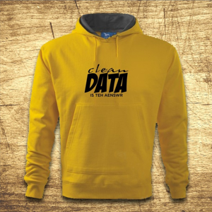 Mikina s kapucňou s motívom Clean data is the answer