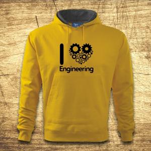 Mikina s kapucňou s motívom I love engineering