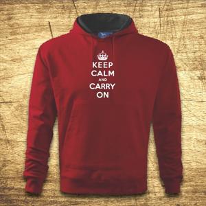 Mikina s kapucňou s motívom Keep calm and carry on.