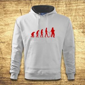 Mikina s kapucňou s motívom Požiarnik evolúcia