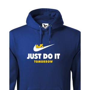 Pánska mikina s potlačou JUST DO IT TOMORROW - paródia na tričko NIKE
