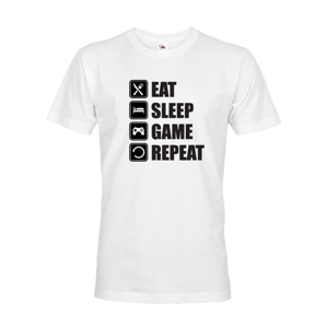 Pánske Geek/hráčske tričko EAT, SLEEP, GAME, REPEAT - dokonalý darček