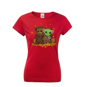 Pánské tričko Majster Yoda a Groot - ideálne pre každú fanúšičku