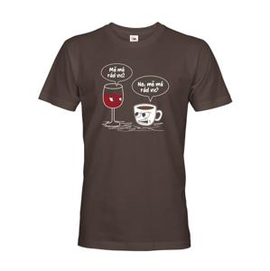 Pánske tričko Mňa má radšej pre milovníkov dobrej kávy a vína