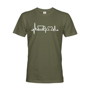 Pánske tričko Srdcový tep káva - tričko pre milovníkov kávy
