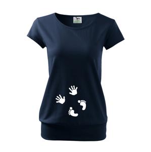 Tehotenské Tričko s motívom Odtlačky - originálny a vtipný motív na triko