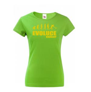 Vtipné tričko s potlačou pre kuželkárov - Evolúcia kolky